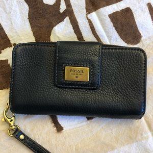 Fossil Black Pebbled Leather Wallet/Wristlet